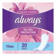 Always Thin Daily Panty Liners, Regular, 20/Pack (08279PK)