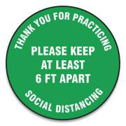 "Accuform Slip-Gard Floor Signs, 12"" Circle, ""Thank You For Practicing Social Distancing Please Keep At Least 6 Ft Apart"", Green, 25/PK (MFS424ESP)"