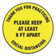 "Accuform Slip-Gard Floor Signs, 12"" Circle,""Thank You For Practicing Social Distancing Please Keep At Least 6 Ft Apart"", Yellow, 25/PK (MFS426ESP)"