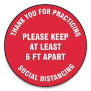 "Accuform Slip-Gard Floor Signs, 12"" Circle, ""Thank You For Practicing Social Distancing Please Keep At Least 6 Ft Apart"", Red, 25/Pack (MFS422ESP)"