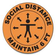 "Accuform Slip-Gard Social Distance Floor Signs, 12"" Circle, ""Social Distance Maintain 6 Ft"", Human/Arrows, Orange, 25/Pack (MFS380ESP)"