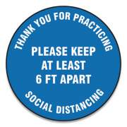 "Accuform Slip-Gard Floor Signs, 12"" Circle, ""Thank You For Practicing Social Distancing Please Keep At Least 6 Ft Apart"", Blue, 25/PK (MFS420ESP)"