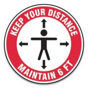 "Accuform Slip-Gard Social Distance Floor Signs, 12"" Circle, ""Keep Your Distance Maintain 6 Ft"", Human/Arrows, Red/White, 25/Pack (MFS345ESP)"
