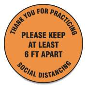 "Accuform Slip-Gard Floor Signs, 12"" Circle,""Thank You For Practicing Social Distancing Please Keep At Least 6 Ft Apart"", Orange, 25/PK (MFS428ESP)"
