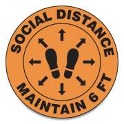 "Accuform Slip-Gard Social Distance Floor Signs, 12"" Circle, ""Social Distance Maintain 6 Ft"", Footprint, Orange, 25/Pack (MFS384ESP)"