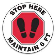 "Accuform Slip-Gard Social Distance Floor Signs, 12"" Circle, ""Stop Here Maintain 6 Ft"", Footprint, Red/White, 25/Pack (MFS388ESP)"