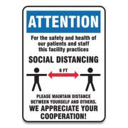 Accuform Social Distance Signs, Wall, 10 x 7, Patients and Staff Social Distancing, Humans/Arrows, Blue/White, 10/Pack (MGNG903VPESP)