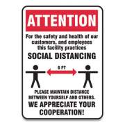 Accuform Social Distance Signs, Wall, 10 x 7, Customers and Employees Distancing, Humans/Arrows, Red/White, 10/Pack (MGNG901VPESP)