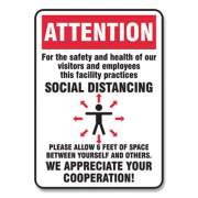Accuform Social Distance Signs, Wall, 10 x 7, Visitors and Employees Distancing, Humans/Arrows, Red/White, 10/Pack (MGNG902VPESP)