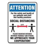 Accuform Social Distance Signs, Wall, 14 x 7, Patients and Staff Social Distancing, Humans/Arrows, Blue/White, 10/Pack (MGNG907VPESP)