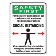 Accuform Social Distance Signs, Wall, 14 x 10, Customers and Employees Distancing Clean Environment, Humans/Arrows, Green/White, 10/Pk (MGNG908VPESP)