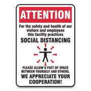 Accuform Social Distance Signs, Wall, 14 x 10, Visitors and Employees Distancing, Humans/Arrows, Red/White, 10/Pack (MGNG906VPESP)