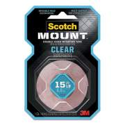 """Scotch Double-Sided Mounting Tape, Industrial Strength, 1"""" x 60"""", Clear/Red Liner (410H)"""