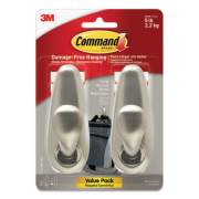 Command Adhesive Mount Metal Hook, Large, Brushed Nickel Finish, 2 Hooks and 4 Strips/Pack (FC13BN2ES)