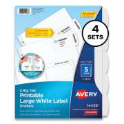 Avery Big Tab Printable Large White Label Tab Dividers, 5-Tab, 11 x 8.5, White, 4 Sets (2420614)