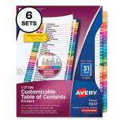 Avery Customizable Table of Contents Ready Index Multicolor Dividers, 31-Tab, 1 to 31, 11 x 8.5, 6 Sets (24401352)