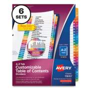 Avery Customizable Table of Contents Ready Index Multicolor Dividers, 26-Tab, A to Z, 11 x 8.5, 6 Sets (24401360)