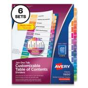 Avery Customizable Table of Contents Ready Index Multicolor Dividers, 12-Tab, Jan. to Dec., 11 x 8.5, 6 Sets (24401361)