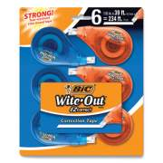 """BIC Wite-Out EZ Correct Correction Tape, Non-Refillable, 0.17"""" x 468"""", White Tape, 6/Pack (24423727)"""