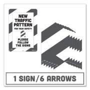Tabbies BeSafe Carpet Decals, New Traffic Pattern For Your Safety; Please Follow The Signs, 12 x 18, White/Gray, 7/Pack (29203)