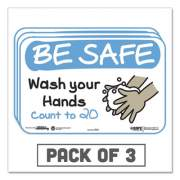 """Tabbies BeSafe Messaging Education Wall Signs, 9 x 6, """"Be Safe, Wash Your Hands, Count to 20"""", 3/Pack (29501)"""