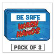 """Tabbies BeSafe Messaging Education Wall Signs, 9 x 6,  """"Be Safe, Wash Your Hands"""", 3/Pack (29502)"""