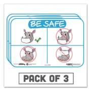"""Tabbies BeSafe Messaging Education Wall Signs, 9 x 6,  """"Be Safe"""", Rhinoceros, 3/Pack (29509)"""