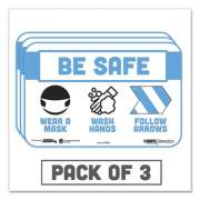 """Tabbies BeSafe Messaging Education Wall Signs, 9 x 6,  """"Be Safe, Wear a Mask, Wash Your Hands, Follow the Arrows"""", 3/Pack (29546)"""