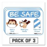 """Tabbies BeSafe Messaging Education Wall Signs, 9 x 6,  """"Be Safe, Wear a Mask, Wash Your Hands, Follow the Arrows"""", Monkey, 3/Pack (29506)"""