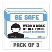 """Tabbies BeSafe Messaging Education Wall Signs, 9 x 6,  """"Be Safe, Wear a Mask at All Times While in the Building"""", 3/Pack (29552)"""