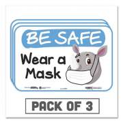 """Tabbies BeSafe Messaging Education Wall Signs, 9 x 6,  """"Be Safe, Wear a Mask"""", Rhinoceros, 3/Pack (29508)"""