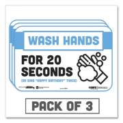"""Tabbies BeSafe Messaging Education Wall Signs, 9 x 6,  """"Wash Hands For 20 Seconds or Sing Happy Birthday Twice"""", 3/Pack (29541)"""