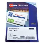 AbilityOne 7530016878806 SKILCRAFT/AVERY Tent Cards, White, 2.5 x 8.5, 2 Cards/Sheet, 100 Cards/Box