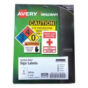 AbilityOne 7530016878146 SKILCRAFT/AVERY Surface Safe Sign Labels, 7 x 10, White, 1/Sheet, 15 Sheets/Box, 12 Boxes/Box