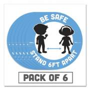 "Tabbies BeSafe Messaging Education Floor Signs, Be Safe; Stand 6 Ft Apart, 12"" dia, White/Blue, 6/Pack (29513)"