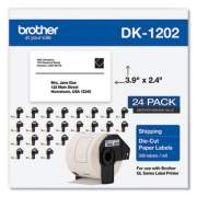 Brother Die-Cut Shipping Labels, 2.4 x 3.9, White, 300/Roll, 24 Rolls/Pack (DK120224PK)