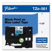 "Brother TZe Standard Adhesive Laminated Labeling Tape, 1.4"" x 26.2 ft, Black on Blue (TZE561CS)"