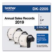 "Brother Continuous Paper Label Tape, 2.4"" x 100 ft, White, 3 Rolls/Pack (DK22053PK)"