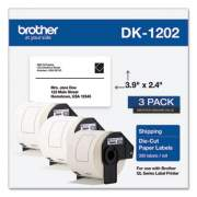 Brother Die-Cut Shipping Labels, 2.4 x 3.9, White, 300/Roll, 3 Rolls/Pack (DK12023PK)
