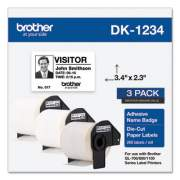 Brother Die-Cut Name Badge Labels, 2.3 x 3.4, White, 260/Roll, 3 Rolls/Pack (DK12343PK)