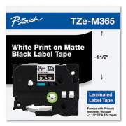 "Brother TZE STANDARD ADHESIVE LAMINATED LABELING TAPE, 1.4"" X 26.2 FT, WHITE ON MATTE BLACK (TZEM365)"