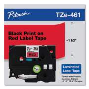 "Brother TZe Standard Adhesive Laminated Labeling Tape, 1.4"" x 26.2 ft, Black on Red (TZE461CS)"