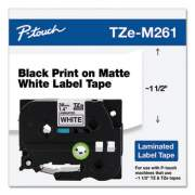 "Brother TZE STANDARD ADHESIVE LAMINATED LABELING TAPE, 1.4"" X 26.2 FT, BLACK ON MATTE WHITE (TZEM261)"