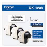 Brother Die-Cut Address Labels, 1.4 x 3.5, White, 400/Roll, 3 Rolls/Pack (DK12083PK)