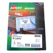 AbilityOne 7530016878445 SKILCRAFT/AVERY Durable Self-Laminating ID Labels, 2.31 x 3.31, White, 4/Sheets, 25 Sheets/Pack