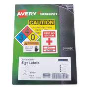 AbilityOne 7530016878151 SKILCRAFT/AVERY Surface Safe Sign Labels, 8 x 8, White, 1/Sheet, 15 Sheets/Box, 12 Boxes/Box