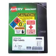 AbilityOne 7530016878147 SKILCRAFT/AVERY Surface Safe Sign Labels, 5 x 7, White, 2/Sheet, 15 Sheets/Box, 12 Boxes/Box