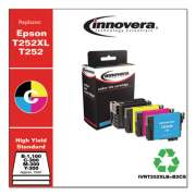 Innovera Remanufactured Black/Cyan/Magenta/Yellow Ink, Replacement for Epson T252XL/T252 (T252XL-BCS), B- 1,100; C/M/Y- 300 Page-Yield