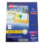 AbilityOne 7530016880800 SKILCRAFT/AVERY Clean Edge Business Cards, Laser, 3.5 x 2, White, 10/Sheet, 100 Sheets/Box