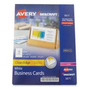 AbilityOne 7530016878444 SKILCRAFT/AVERY Clean Edge Business Cards, Laser, 3.5 x 2, White, 10/Sheet, 20 Sheets/Pack